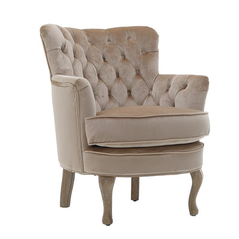 Πολυθρόνα σαλονιού βελούδινη με ξύλινα πόδια σε χρυσό χρώμα 70x62x75