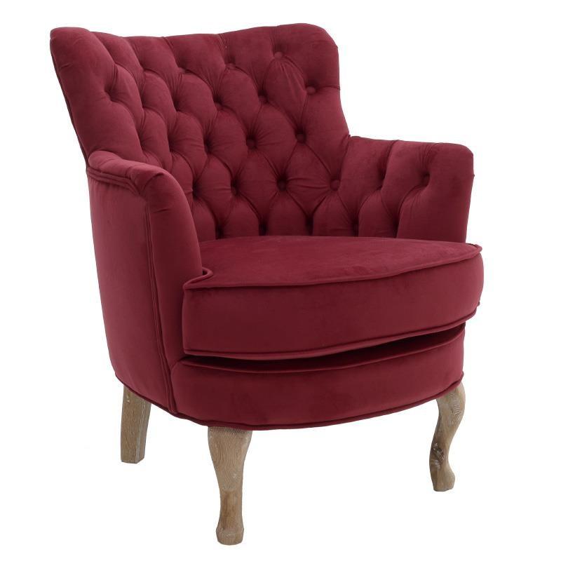 Πολυθρόνα σαλονιού βελούδινη με ξύλινα πόδια σε μπορντώ χρώμα 62x70x75