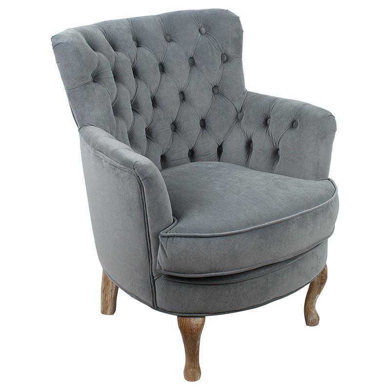 Πολυθρόνα σαλονιού βελούδινη με ξύλινα πόδια σε γκρι χρώμα 62x70x75