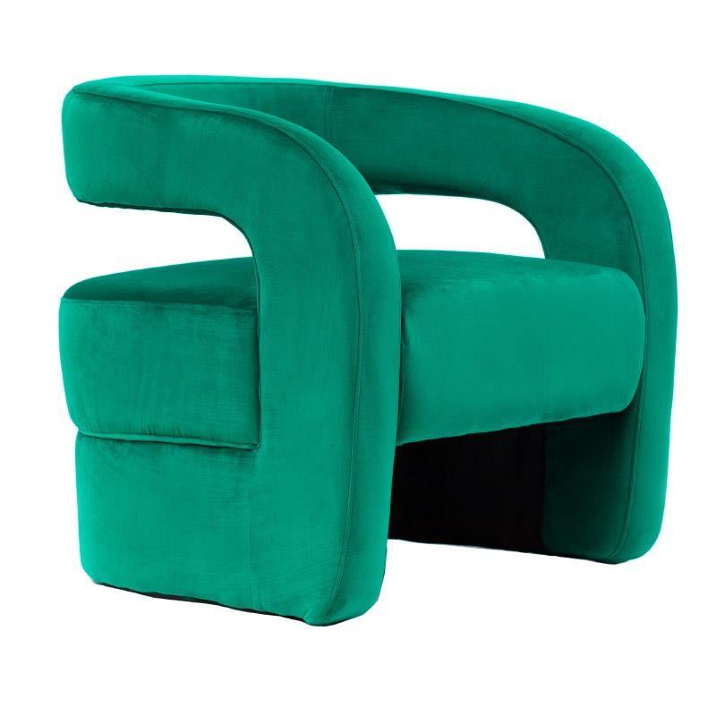 Πολυθρόνα σαλονιού βελούδινη σε πράσινο χρώμα 76x76x73