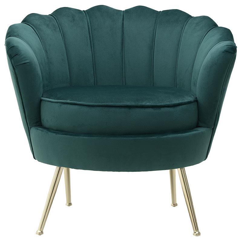 Πολυθρόνα βελούδινη σε πράσινο χρώμα 78x78x78