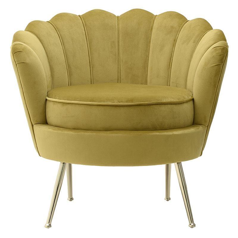 Πολυθρόνα βελούδινη σε μουσταρδί χρώμα 78x78x78