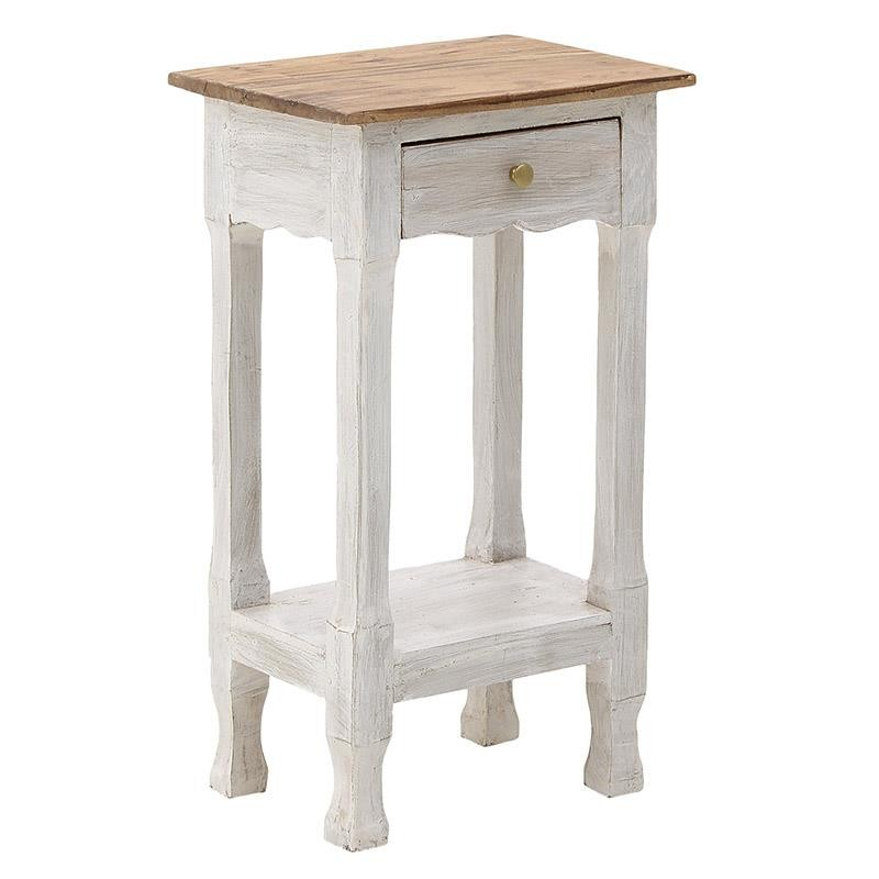 Κομοδίνο ξύλινο σε αντικέ λευκό-φυσικό χρώμα 42x32x76