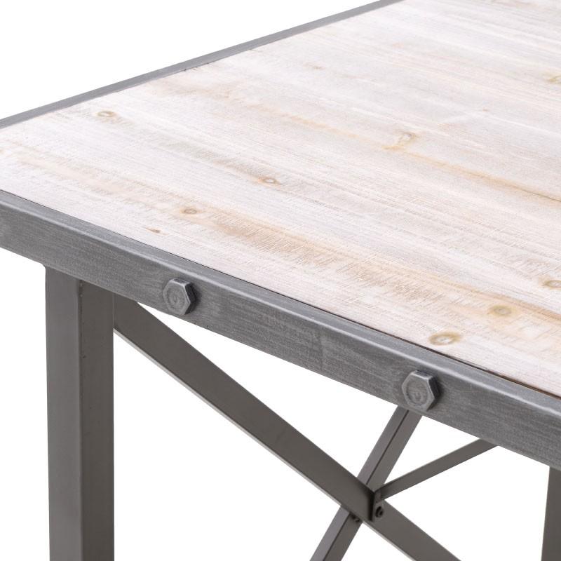 Τραπέζι για τραπεζαρία μεταλλικό-ξύλινο σε γκρι-φυσικό χρώμα 138x86x80