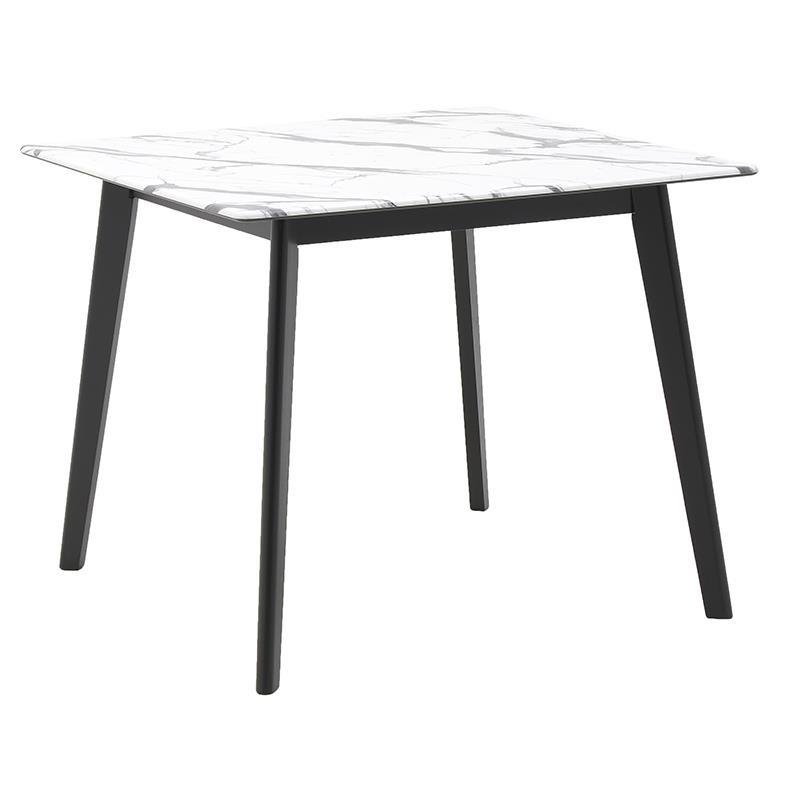 Τραπέζι ξύλινο με μαρμάρινη επιφάνεια σε μαύρο χρώμα 107x107x75