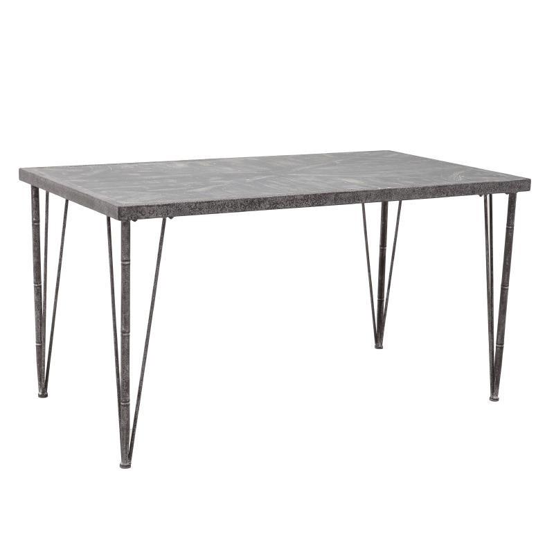Τραπέζι ξύλινο με μεταλλικά πόδια σε καφέ χρώμα 145x79x76