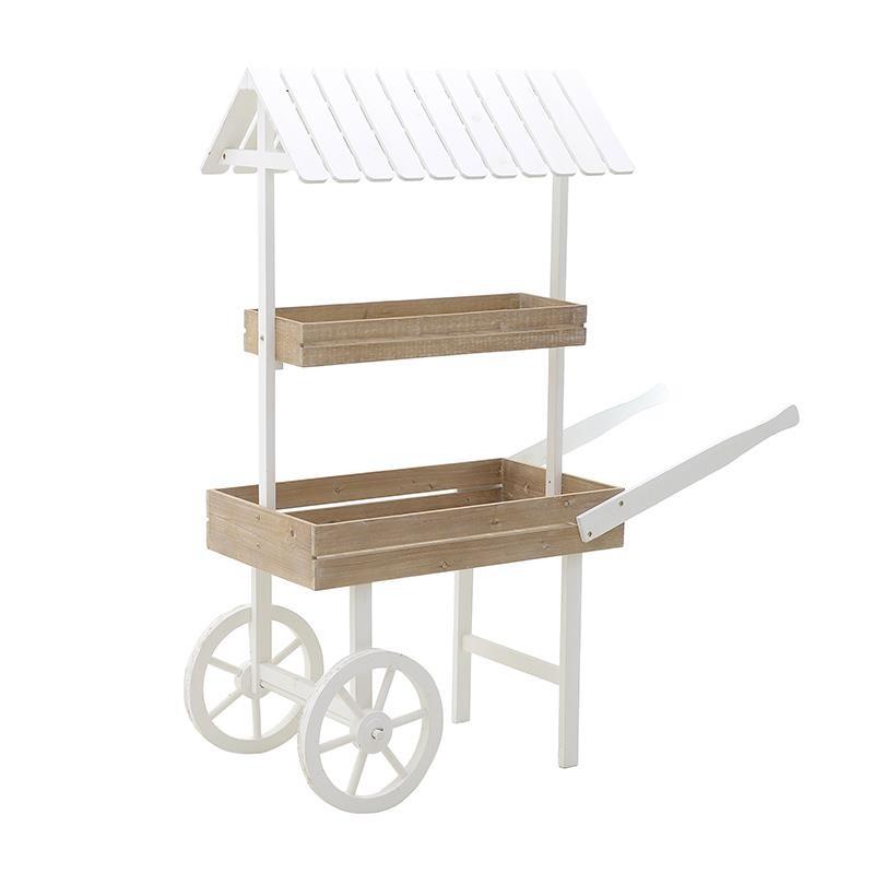 Ραφιέρα σε σχήμα καρότσι ξύλινη σε λευκό-φυσικό χρώμα 132x50x150