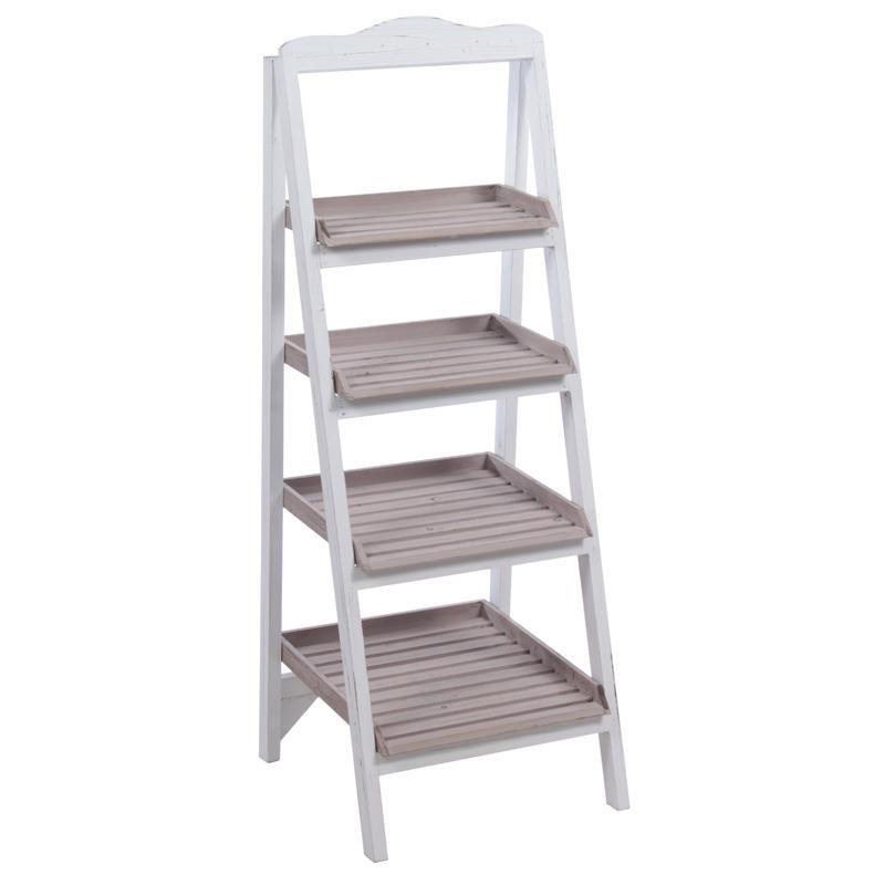 Ραφιέρα σκάλα ξύλινη σε λευκό-γκρι χρώμα 37x35x97