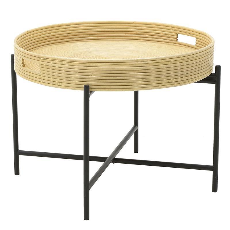 Τραπέζι σαλονιού από ραττάν-μέταλλο σε φυσικό-μαύρο χρώμα 65x65x55