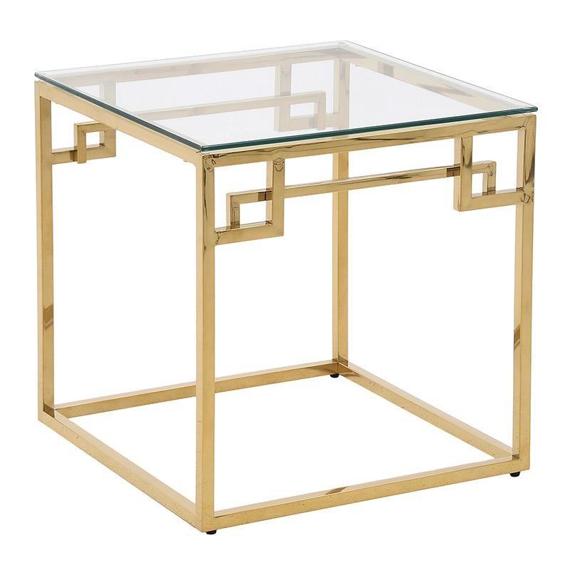 Τραπέζι βοηθητικό μεταλλικό σε χρυσό χρώμα με γυάλινη επιφάνεια 55x55x55