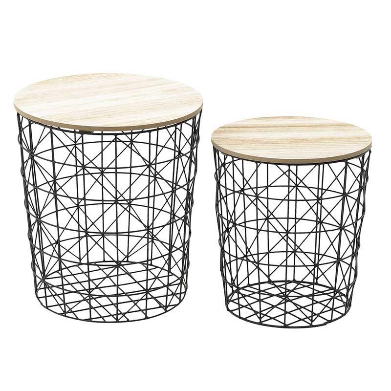Σετ βοηθητικά τραπέζια 2τμχ μεταλλικά-ξύλινα σε μαύρο-φυσικό χρώμα 33x33x36