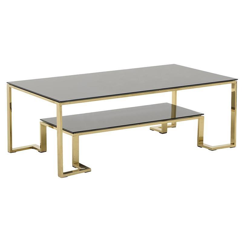 Τραπέζι σαλονιού μεταλλικό-γυάλινο σε χρυσό-μαύρο χρώμα 130x70x45
