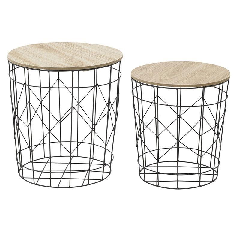 Σετ βοηθητικά τραπέζια 2τμχ μεταλλικά-ξύλινα σε μαύρο-φυσικό χρώμα 37x37x39