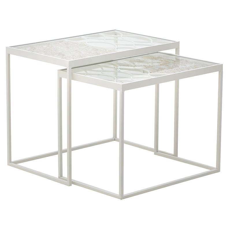 Σετ τραπεζιών 2τμχ ξύλινο-γυάλινο σε λευκό χρώμα 60x40x50