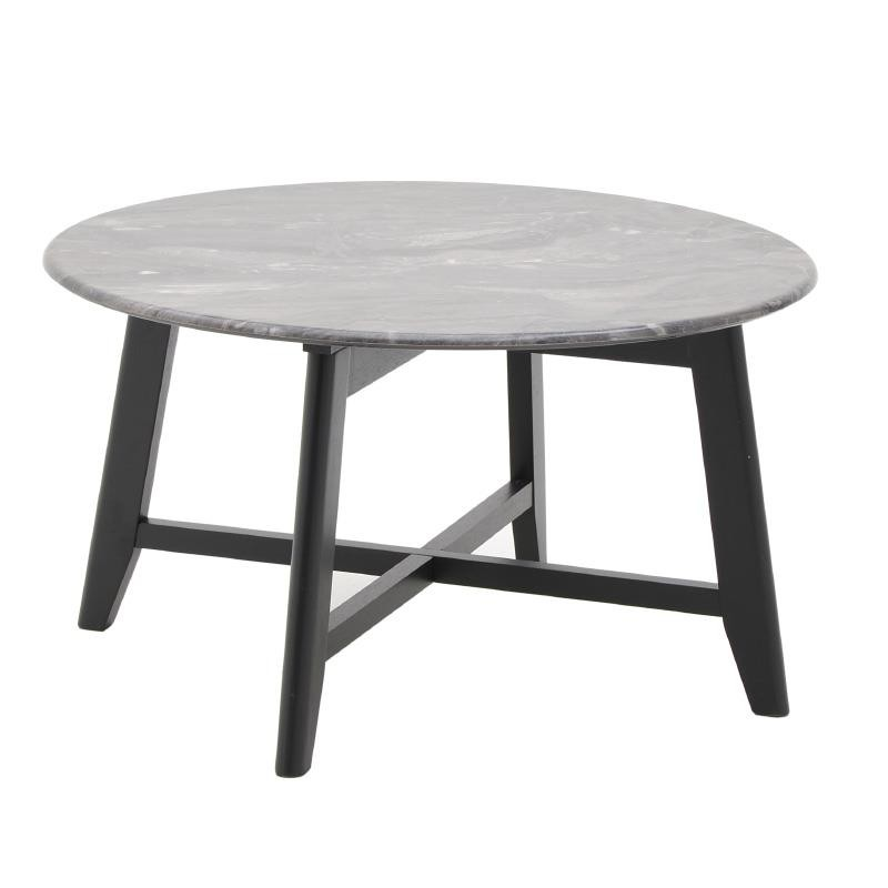 Τραπέζι σαλονιού ξύλινο με μαρμάρινη επιφάνεια σε μαύρο-γκρι χρώμα 80x80x45