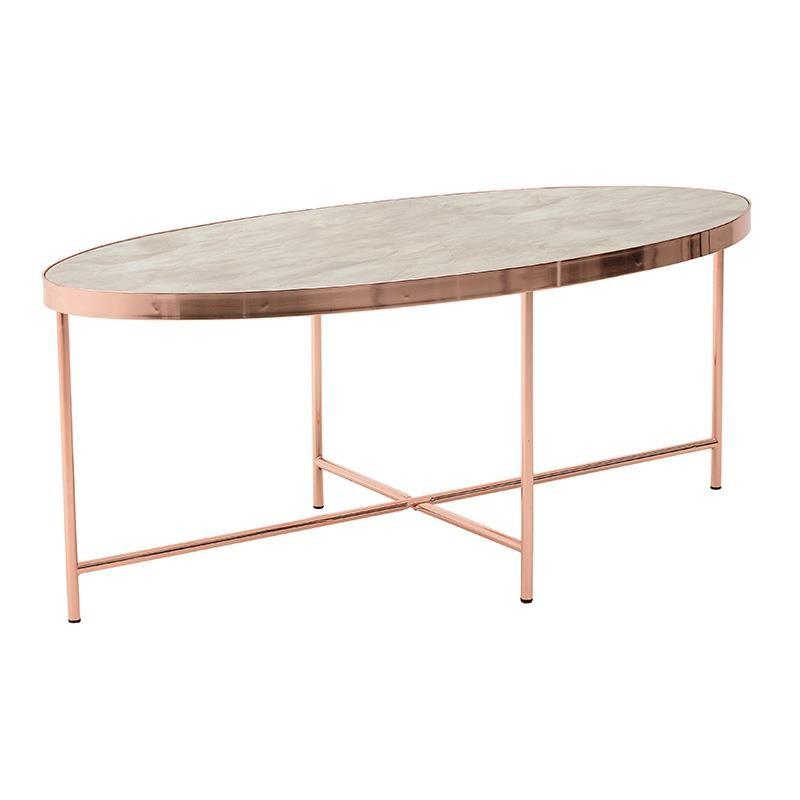 Τραπέζι σαλονιού οβάλ μεταλλικό-γυάλινο με μαρμάρινη όψη σε μπρονζέ χρώμα 110x55x40