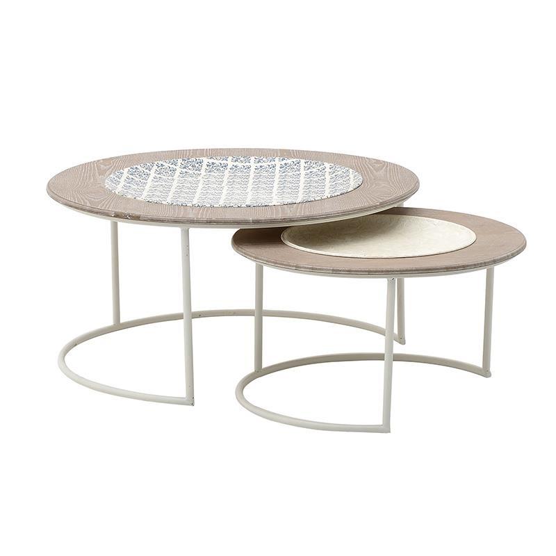 Τραπέζια σαλονιού 2τμχ ξύλινα-μεταλλικά σε χρώμα δρυς-λευκό 80x80x40