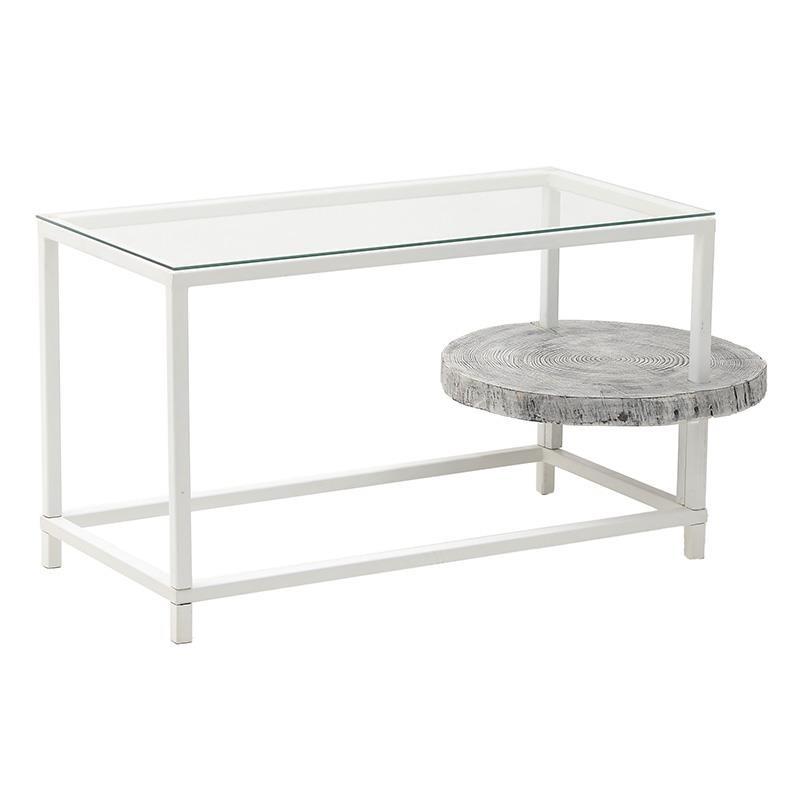 Τραπέζι σαλονιού μεταλλικό-ξύλινο σε λευκό χρώμα 51x67x57