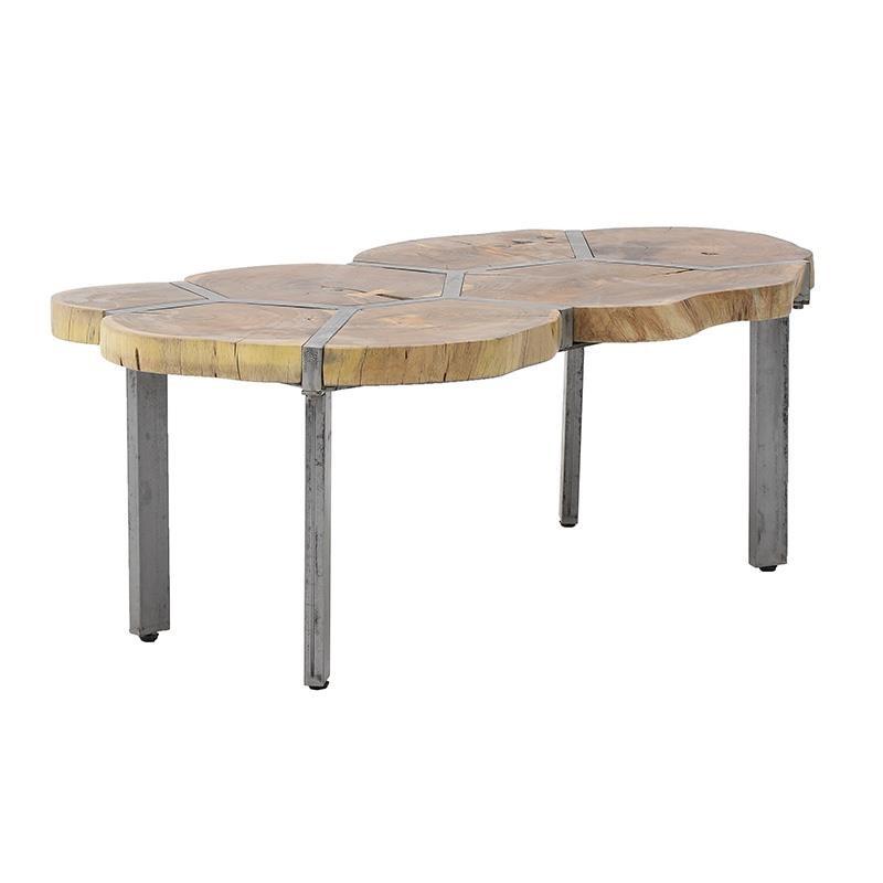 Τραπέζι σαλονιού ξύλινο-μεταλλικό σε φυσικό-γκρι χρώμα 106x65x45