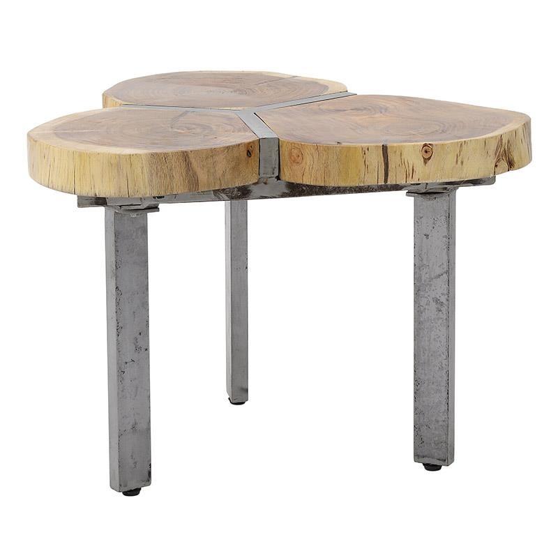 Τραπεζάκι ξύλινο-μεταλλικό σε φυσικό-γκρι χρώμα 70x70x45