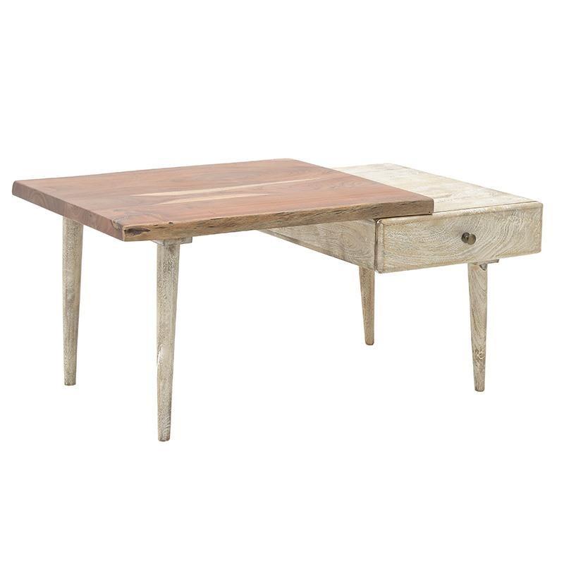 Τραπέζι σαλονιού ξύλινο σε καφέ-φυσικό χρώμα 100x60x45