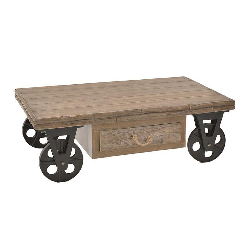 Τραπέζι σαλονιού τροχήλατο ξύλινο σε καφέ χρώμα 123x73x41