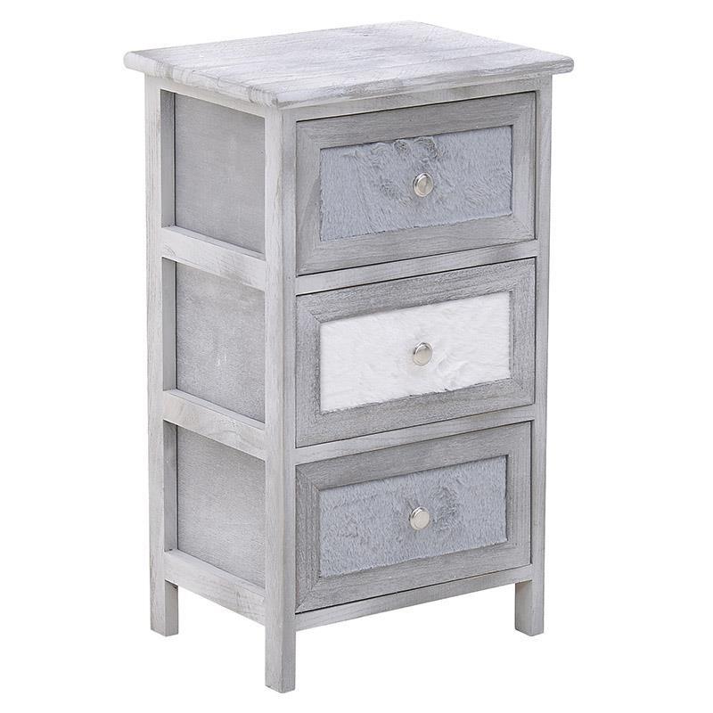 Συρταριέρα ξύλινη-γούνινη σε γκρι-λευκό χρώμα 38x30x62