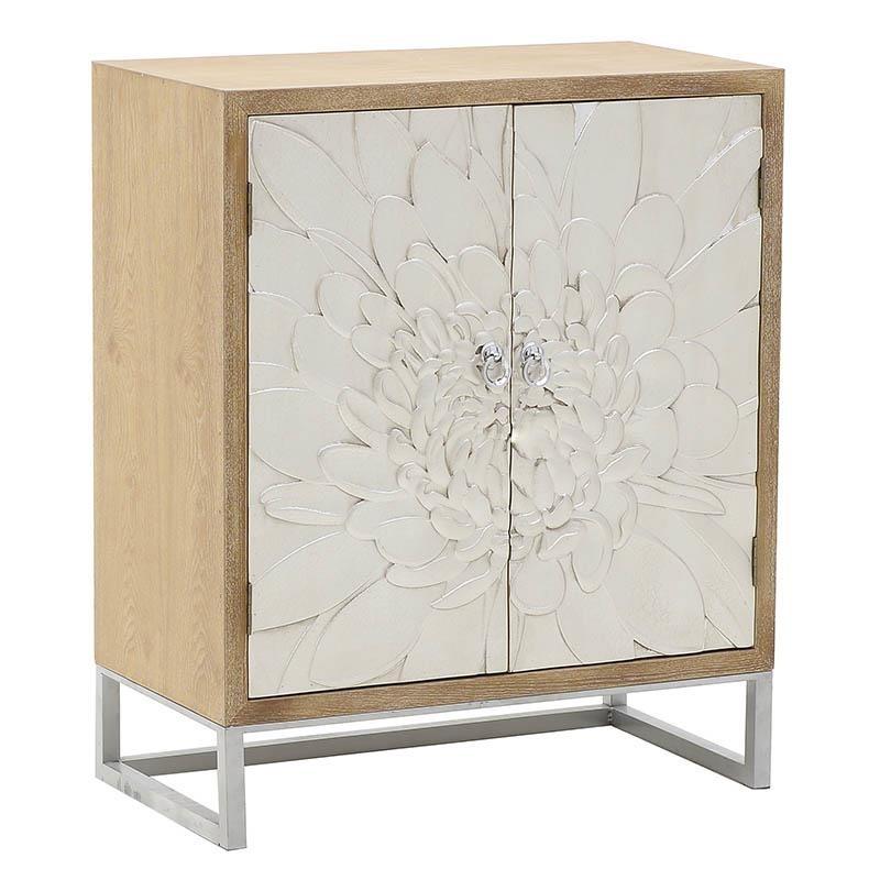 Ντουλάπι από ξύλο σε φυσικό-ασημί χρώμα 76x40x91
