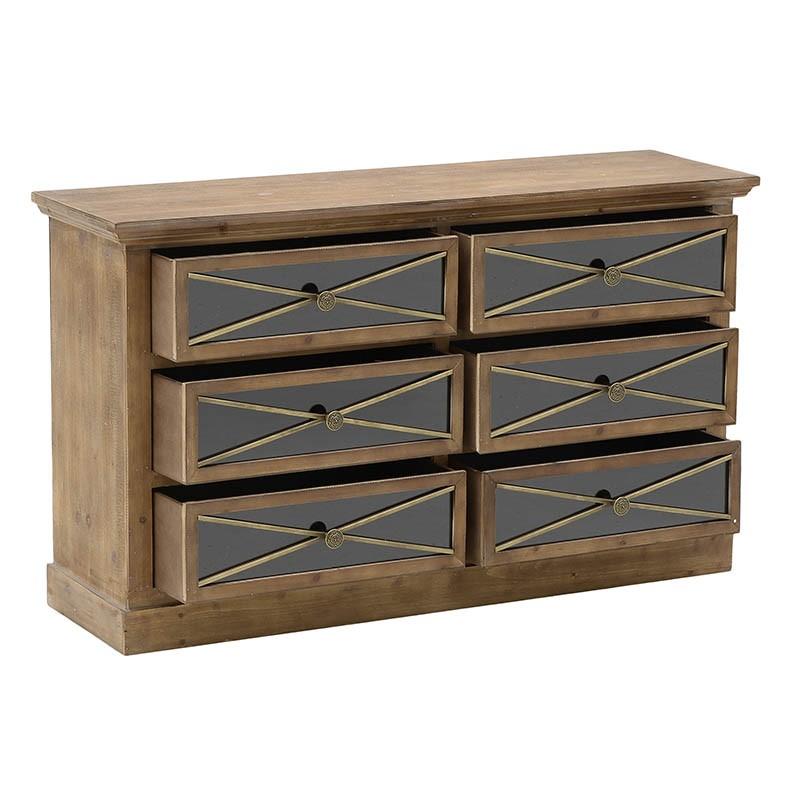 Συρταριέρα με 6 συρτάρια ξύλινη σε φυσικό χρώμα 112x33x66