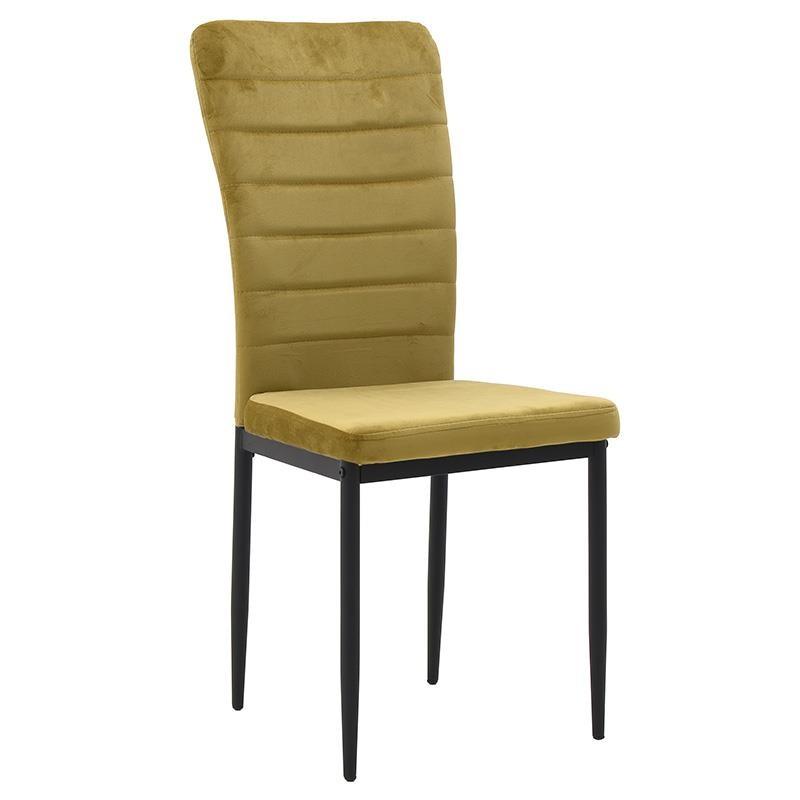 Καρέκλα τραπεζαρίας βελούδινη σε χρυσό χρώμα 58x42x95