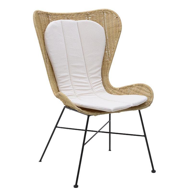 Kαρέκλα από μέταλλο-ραττάν σε μαύρο-φυσικό χρώμα 67x73x105