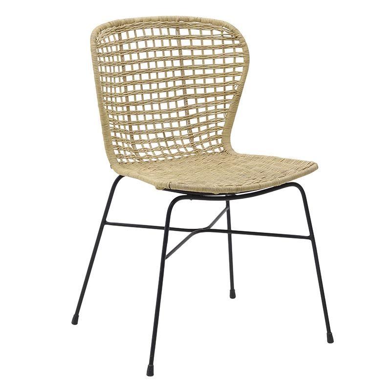 Καρέκλα από μέταλλο-ραττάν σε φυσικό χρώμα 48x56x83