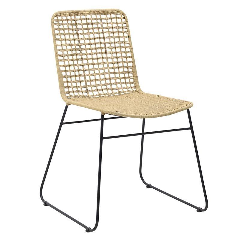 Καρέκλα από μέταλλο-ραττάν σε μαύρο-φυσικό χρώμα 56x58x85