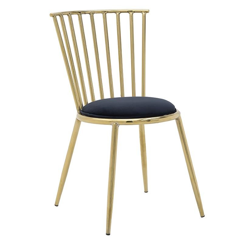 Καρέκλα από μέταλλο-βελούδο σε χρυσό-μαύρο χρώμα 45x60x82