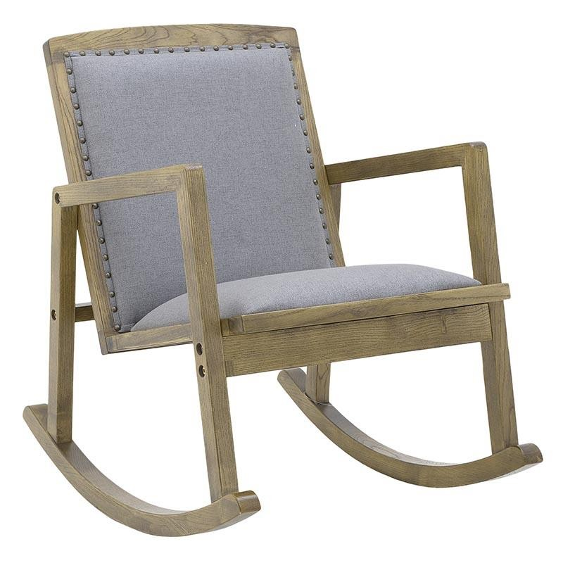 Κουνιστή πολυθρόνα από ξύλο-ύφασμα σε φυσικό-γκρι χρώμα 60x80x80