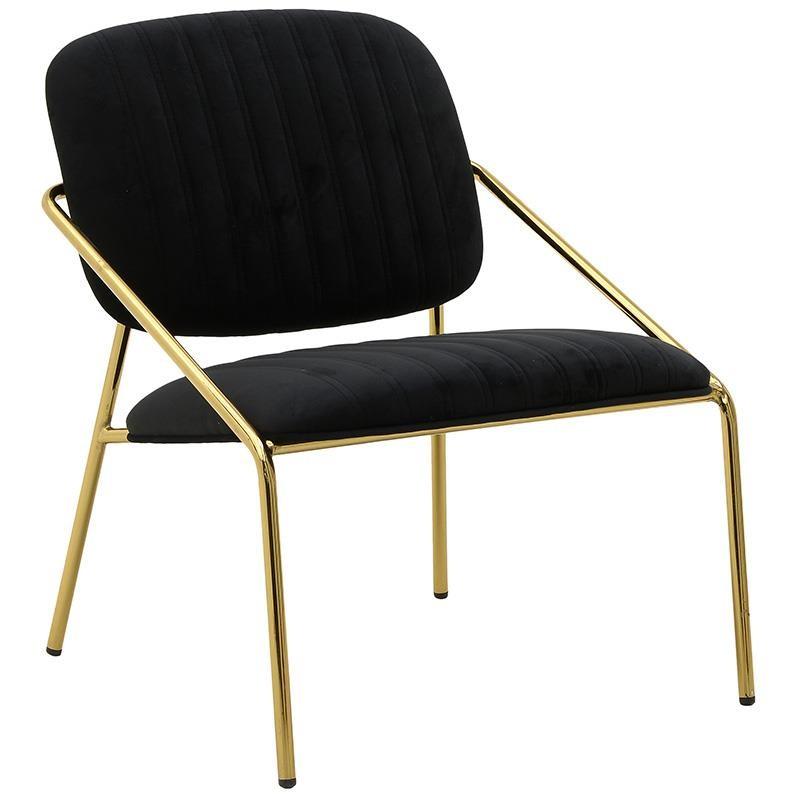 Καρέκλα από μέταλλο-βελούδο σε χρυσό-μαύρο χρώμα 63x67x74