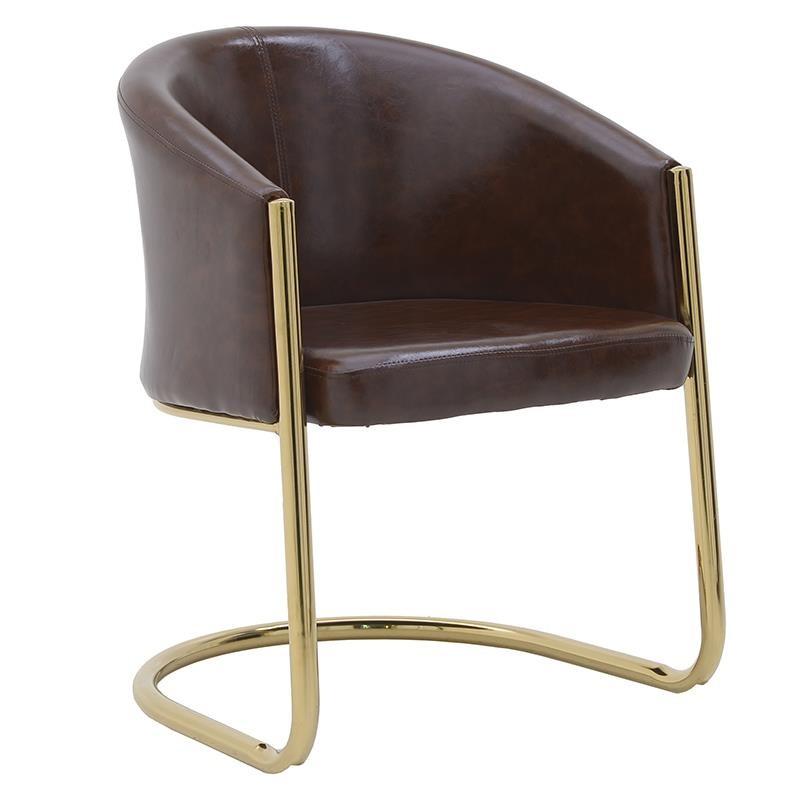 Πολυθρόνα από μέταλλο-pu σε χρυσό-καφέ χρώμα 60x60x80
