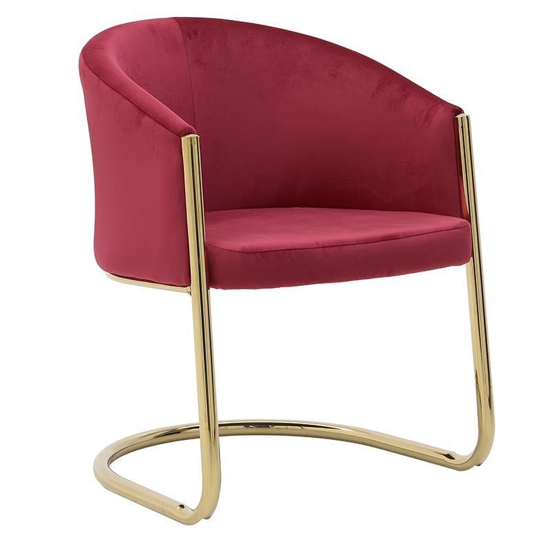 Πολυθρόνα από μέταλλο-βελούδο σε χρυσό-κόκκινο χρώμα 60x60x80