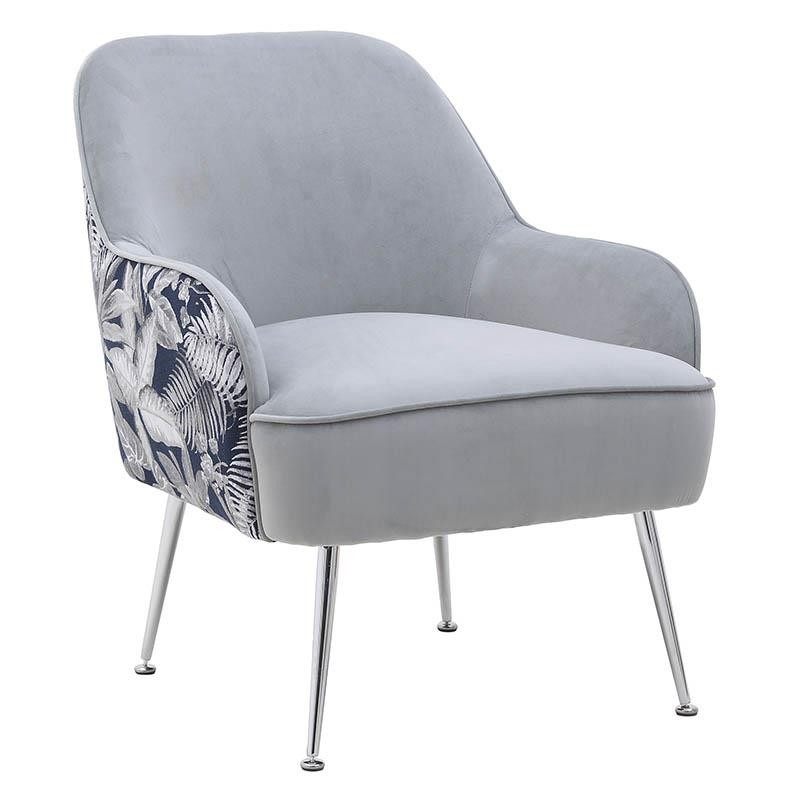 Πολυθρόνα από βελούδο-μέταλλο σε γκρι-ασημί χρώμα 66x72x80
