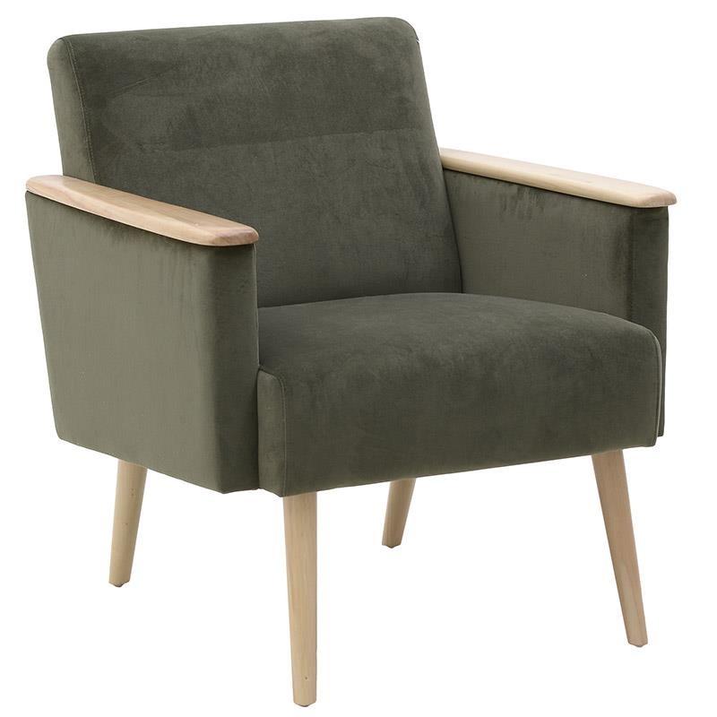 Πολυθρόνα βελούδινη σε γκρι χρώμα 70x76x80