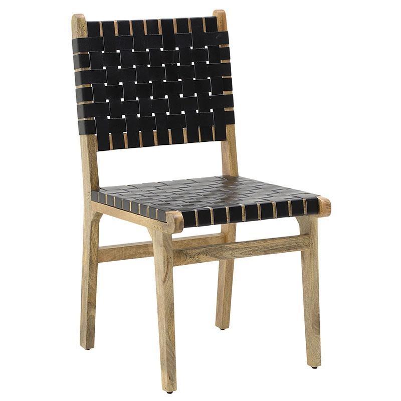 Καρέκλα από ξύλο-PU σε φυσικό-μαύρο χρώμα 52x52x90