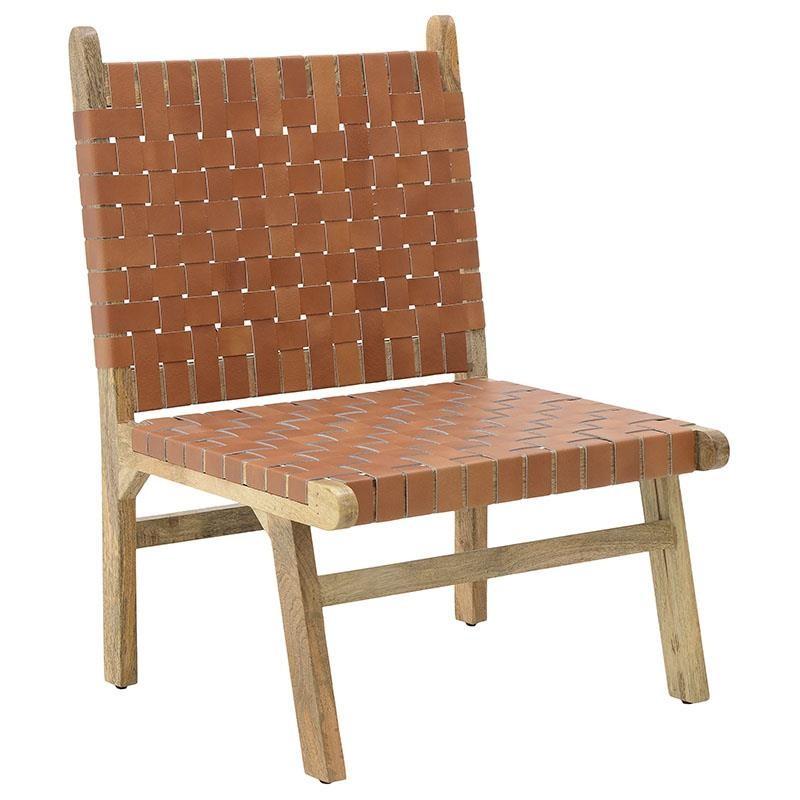 Καρέκλα σαλονιού (χαμηλή) από ξύλο-PU σε φυσικό-καφέ χρώμα 60x65x87