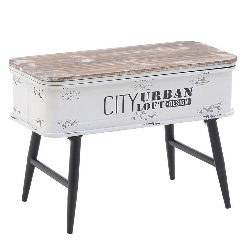 Τραπέζι σαλονιού από ξύλο-μέταλλο σε φυσικό-λευκό χρώμα 60x28x42