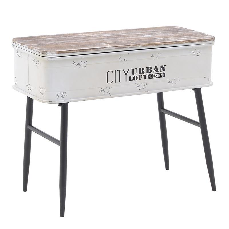 Τραπέζι σαλονιού από ξύλο-μέταλλο σε φυσικό-λευκό χρώμα 80x35x66