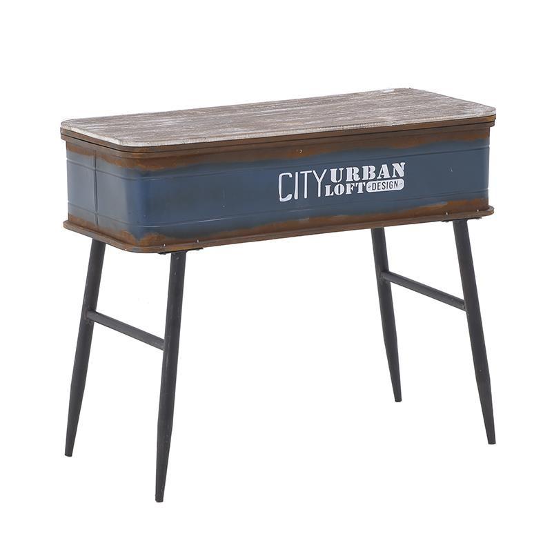 Τραπέζι σαλονιού από ξύλο-μέταλλο σε μπλε-μαύρο χρώμα 80x35x66