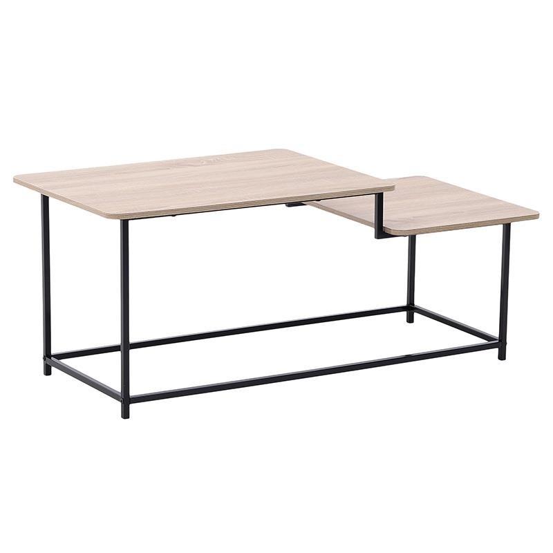 Τραπέζι σαλονιού από μέταλλο-ξύλο σε μαύρο-φυσικό χρώμα 110x50x45