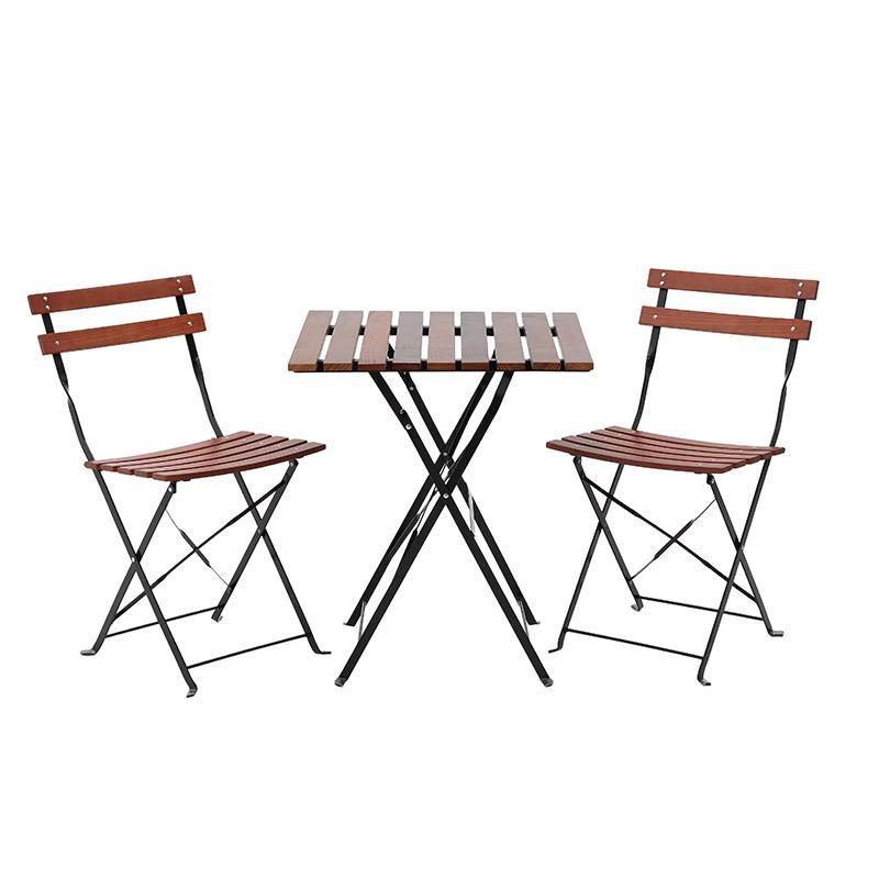 Σετ εξωτερικού χώρου 3τμχ από ξύλο-μέταλλο σε καφέ-μαύρο χρώμα Φ60×71