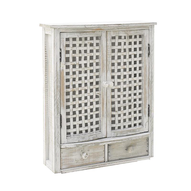 Ντουλάπι τοίχου ξύλινο σε λευκό αντικέ χρώμα 36x13x43