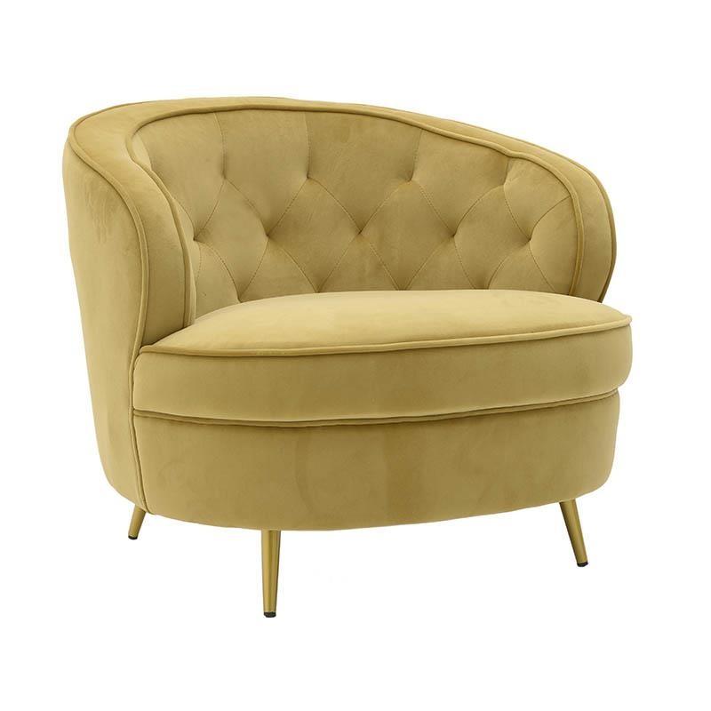 Πολυθρόνα σαλονιού βελούδινη σε χρυσό χρώμα 80x77x70