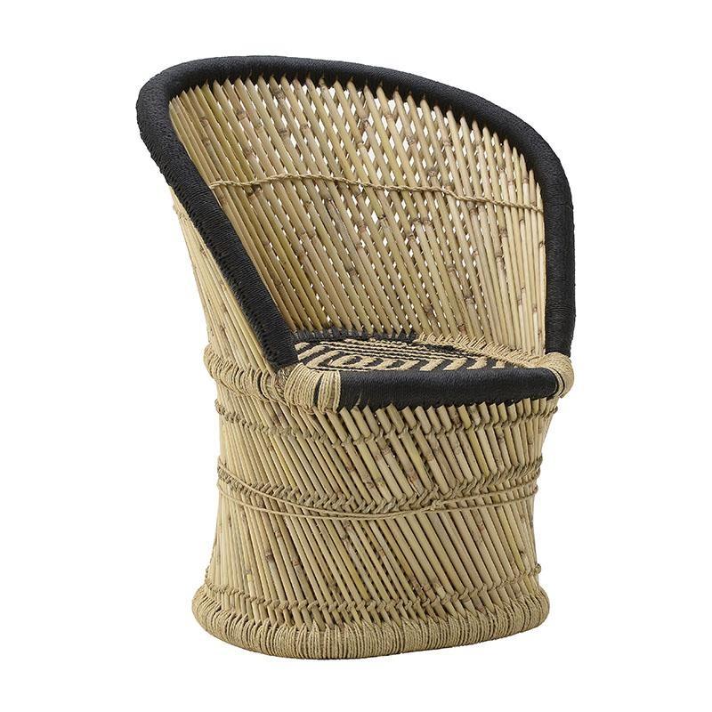 Πολυθρόνα εξωτερικού χώρου από μπαμπού σε φυσικό-μαύρο χρώμα 60x46x80